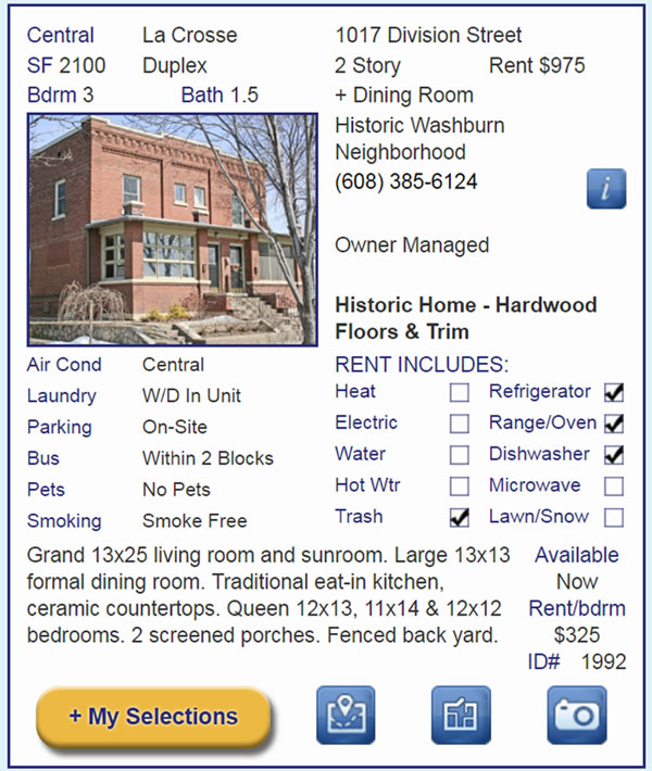 Apartment Connextion Single Listing Example